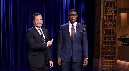 THE TONIGHT SHOW STARRING JIMMY FALLON -- Episode 0313 -- Pictured: (l-r) Host Jimmy Fallon and comedian Monroe Martin on August 14, 2015 -- (Photo by: Douglas Gorenstein/NBC/NBCU Photo Bank)